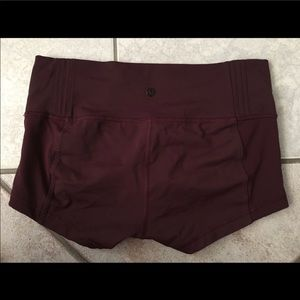 Maroon lululemon stretch shorts